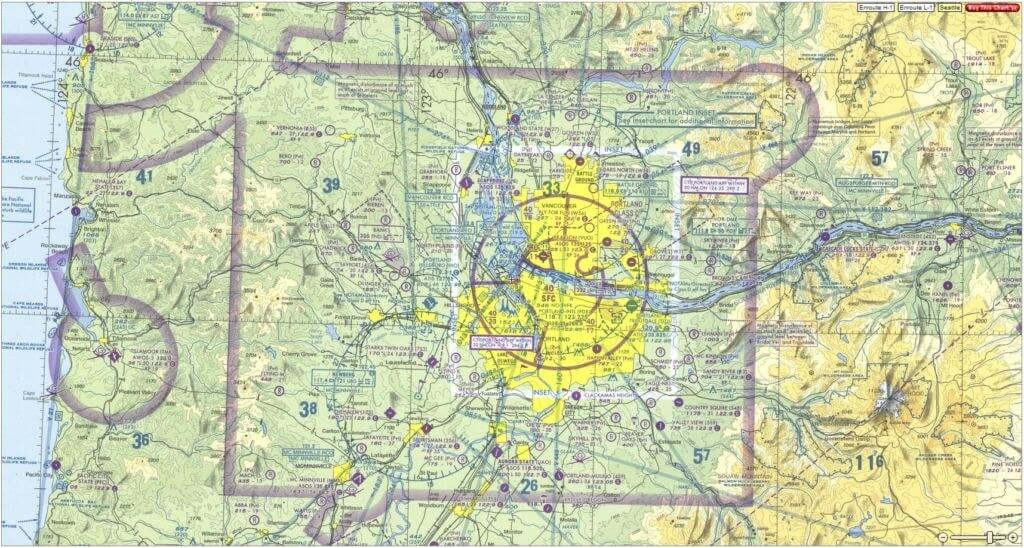 Example sectional chart of the area around Portland International Airport.