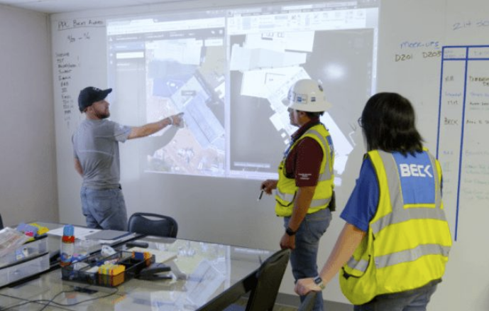 The Beck Group using Skycatch during a planning meeting