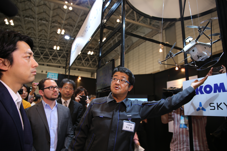 Prospective PM , Shinjirō Koizumi, at Japan's International Drone Expo with Skycatch CEO, Christian Sanz
